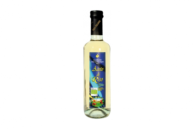 "Organic rice vinegar in ""Rossini"" bottle"