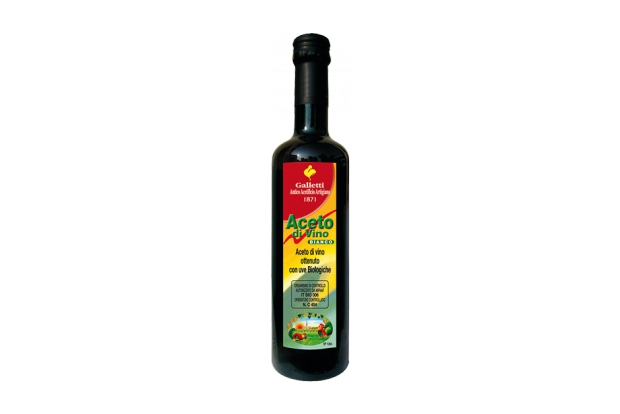 "Organic white wine vinegar in ""Rossini"" bottle"